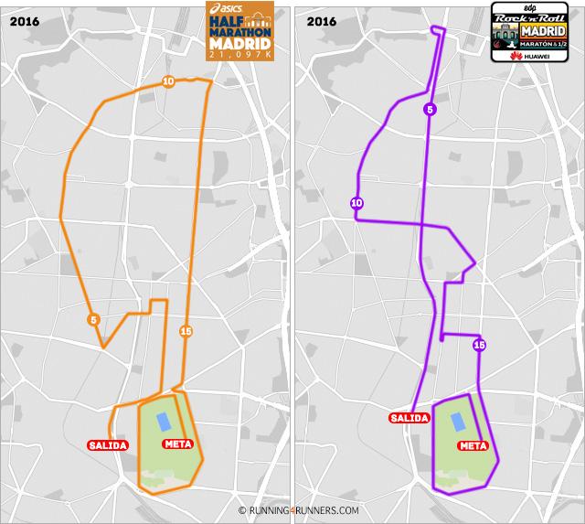 Recorridos de los dos principales medios maratones de Madrid: Half Marathon vs RnR Madrid Maratón 1/2