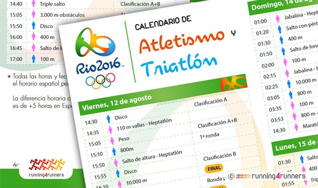 JJOO Rio 2016 - Calendario de atletismo y triatlón
